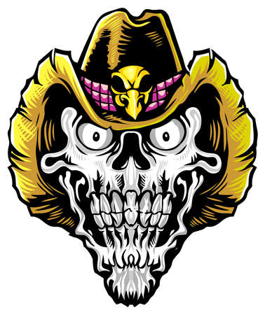 skull wearing brown cowboy hat Illustration