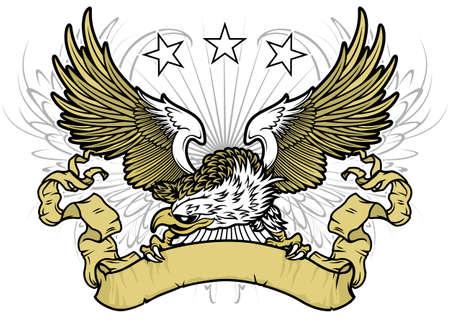 witte kop eagle spreiden vleugels en bedrijf bruine lint