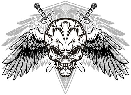 skull and wings with double swords on background Vector
