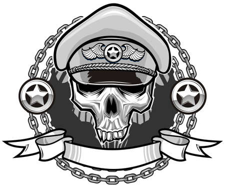 skull on police hat with circle chains and ribbon