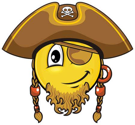 piratenhoed: smiley met baard en oog toonhoogte dragen van bruine piratenhoed Stock Illustratie