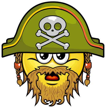 piratenhoed: smiley met baard en snor op groene piratenhoed