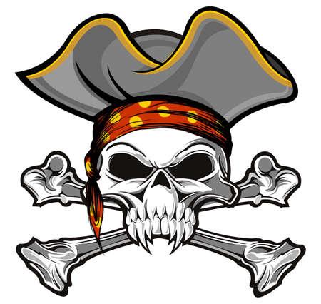 sombrero pirata: cráneo y bandera pirata con el sombrero gris del pirata