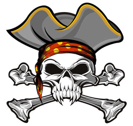 skull and crossbones with gray pirate hat