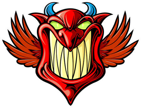smiling red devil with wings and blue horn Ilustracja