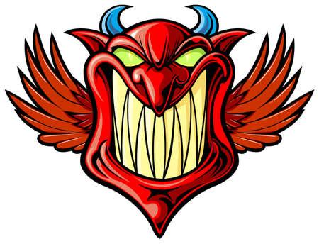 diable rouge: sourire diable rouge avec des ailes et la corne bleue
