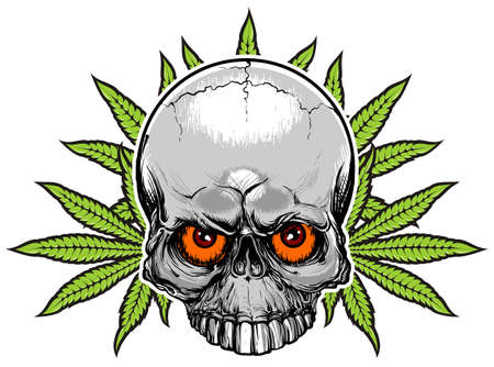weeds: red eyes skull with green weeds on background Illustration