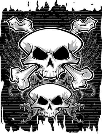black grunge background: skulls and crossbones on black grunge background