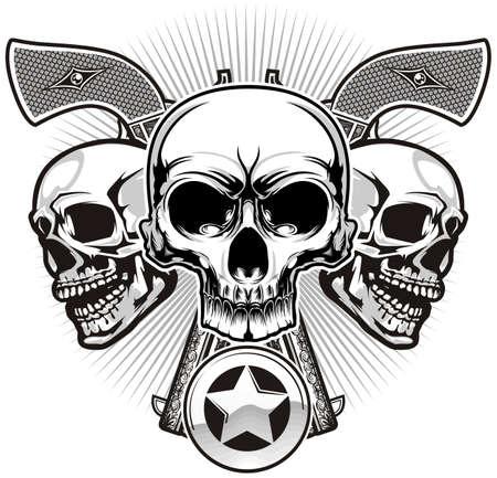 sheriff badge: cr�neos con dos pistolas y insignia del sheriff