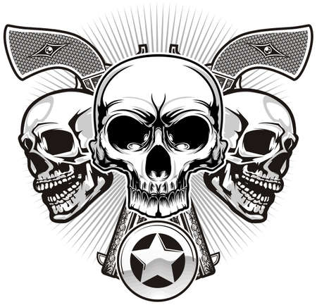 skulls with two handguns and sheriff badge Vector