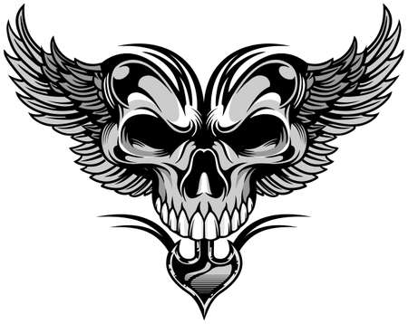 black white artistic skull with wings Vector