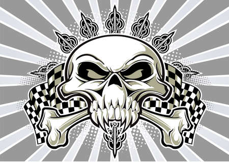 crossbones: skull and crossbones with racing flag and background