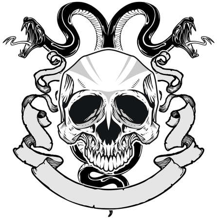 double headed: skull with double headed snake and ribbon