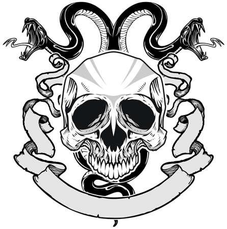 schedel met dubbele geleide slang en lint