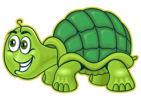 green turtle: camminare tartaruga verde in espressione divertente Vettoriali