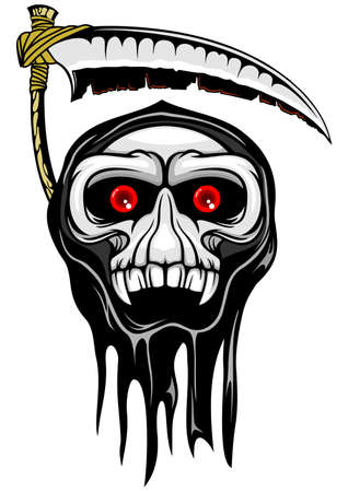 grim reaper with red eyes and scythe