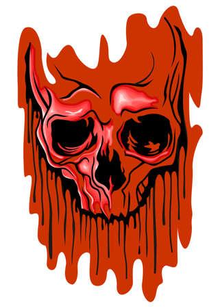 bloodstain: skull illustration in the bloodstain  Illustration