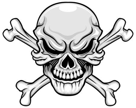 crossbones: vector illustration gray skull and crossbones