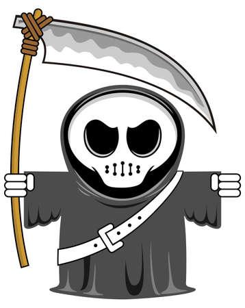 guadaña: vector de dibujos animados divertido sombría reaper con guadaña