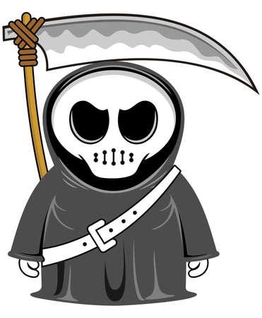 vector cartoon funny grim reaper with scythe Vector