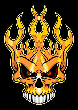 artistic orange flaming skull with with teeth Vector