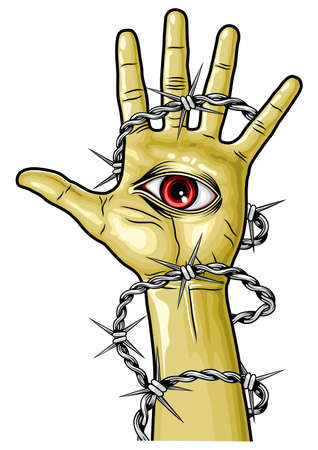 brown hand with red eye and barbed wired Vector