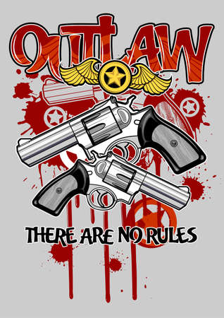 bloodstain: handguns with star and bloodstain on background Illustration