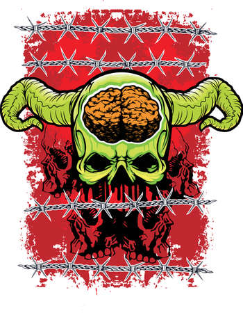 green demon with barbed wire and grunge red background