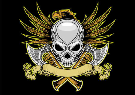 skull and axes with eagle on backgroun Vector