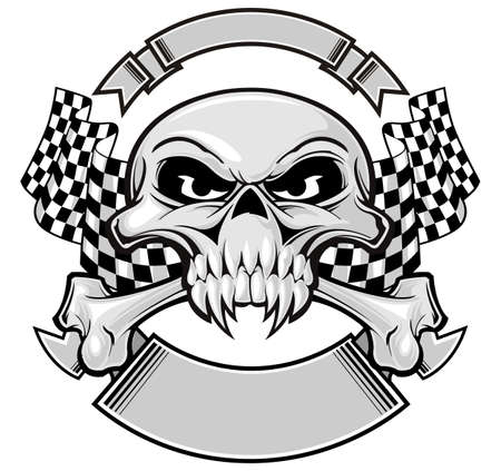 skull and crossbones with racing flag  Vector