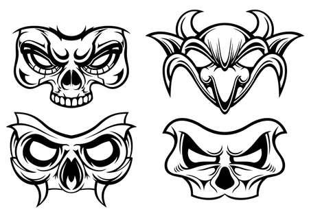 illustraion of black white various of carnival mask
