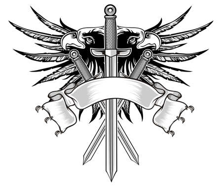 sword with eagle head and wings  Vector