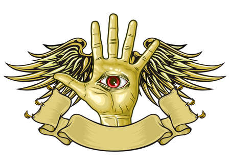 dominate: hand with eye on palm and wings