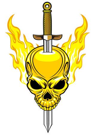 stabbed: cr�neo llameante con la espada apu�alado en la cabeza Vectores