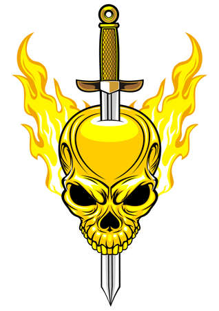 stabbed: flaming skull with sword stabbed in the head