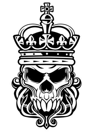 skull and crown: skull with beard wearing a royal crown