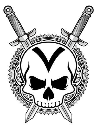 doom: skull with double sword  Illustration