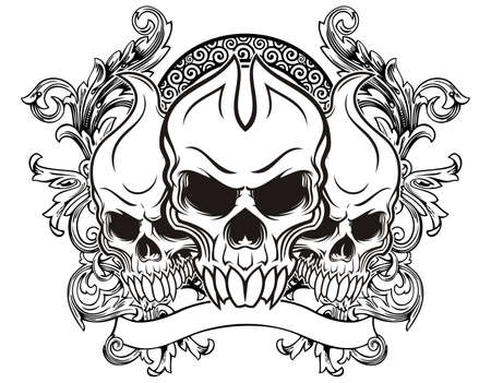 illustration of three skull with vintage background