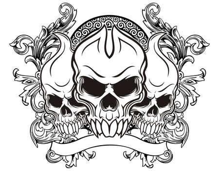 deaths head: illustration of three skull with vintage background