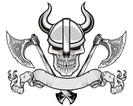 morto: crânio com capacete viking e eixos