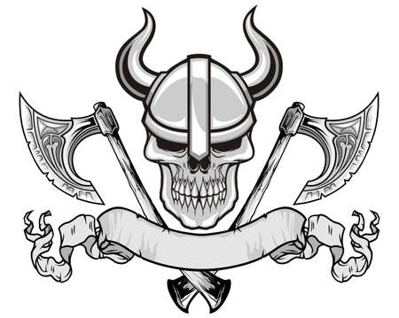 skull tattoo: schedel met viking helm en bijlen Stock Illustratie