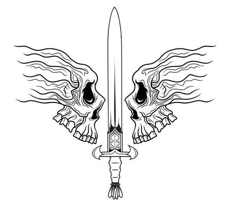 illustration of bastract skull with sword  Ilustracja