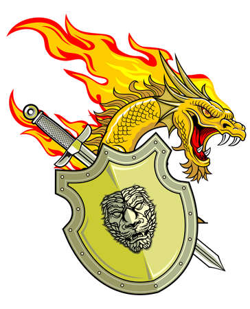 flaming dragon with shield and sword  Ilustracja