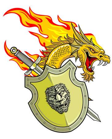 flammenden Drachen mit Schild und Schwert