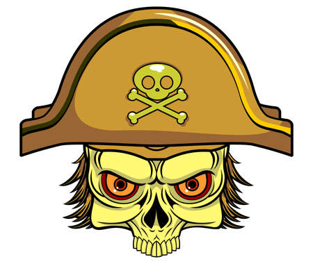 illustration of skull with pirate hat Ilustracja