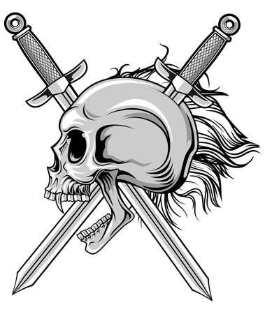 illustration of skull with cross swords  Vector