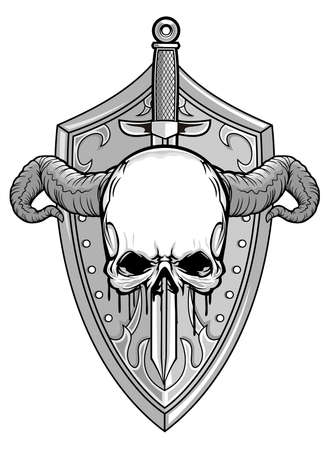 slayer: demon with knight shield and sword
