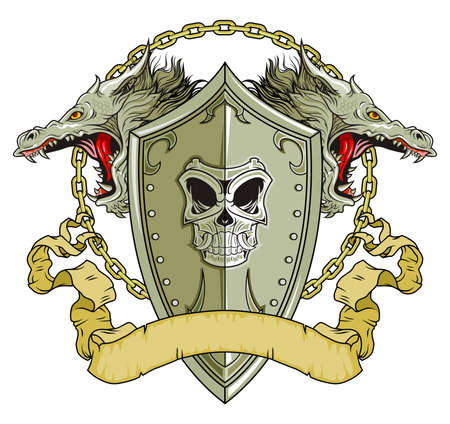 knight shield with dragons head and scroll Vector
