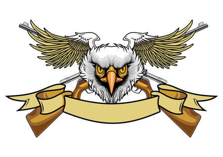 balded eagle spreading wings and rifles  Ilustracja