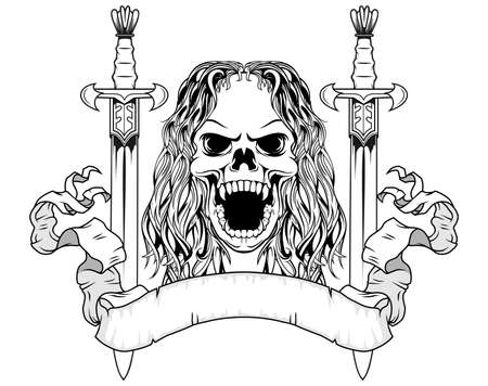 long hair skull with two sword and scroll Vector